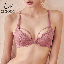 CINOON Floral Lace Lingerie Front Closure Bra Set Backless Underwear Push Up Brassiere Sexy High Waist Panties For Women 2020