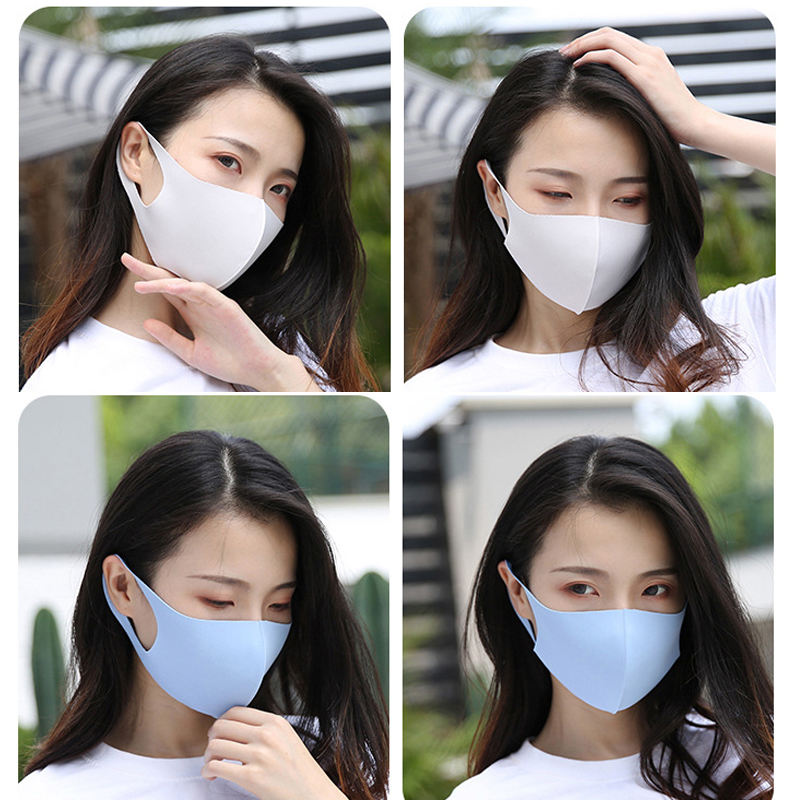 Black Mouth Mask Breathable Unisex Dust-proof Ice Silk Cotton Face Masks Reusable Anti Pollution Wind Proof Mouth Cover Washable