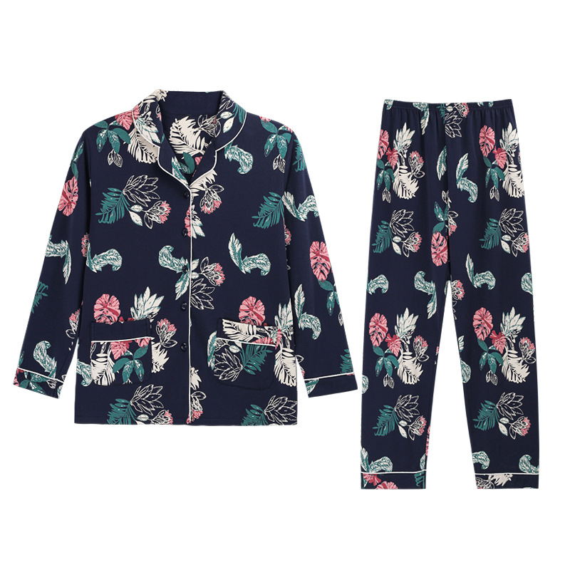 Women's Long-Sleeved Spring and Autumn Cotton Fashion Style Fresh Cardigan Tops Night Wear Home Suit Spring Summer Pajamas