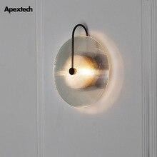 Glass Shell LED Wall Lamp Vintage Iron Decoration light Post-modern Nordic Living Room Bedroom Bedside Night Lights
