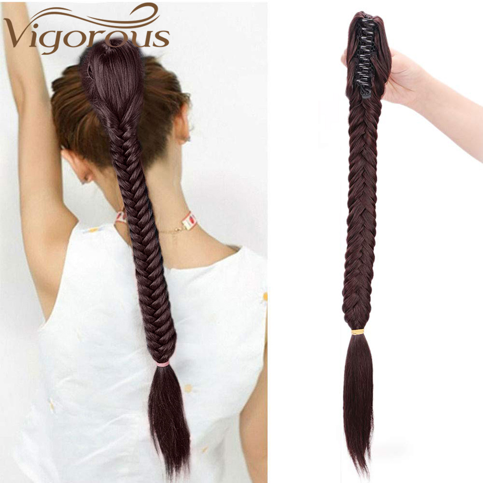 Vigorous 22inch Synthetic Long Fishtail Braids Hair Ponytail Extensions Clip In Drawstring Straight Braiding Ponytail Hairpiece