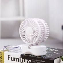 Парный вентилятор с воздушным охлаждением, двойной двигатель, складной USB, перезаряжаемый, вращение на 350 градусов, регулируемая скорость, портативный, для дома, офиса, путешествий