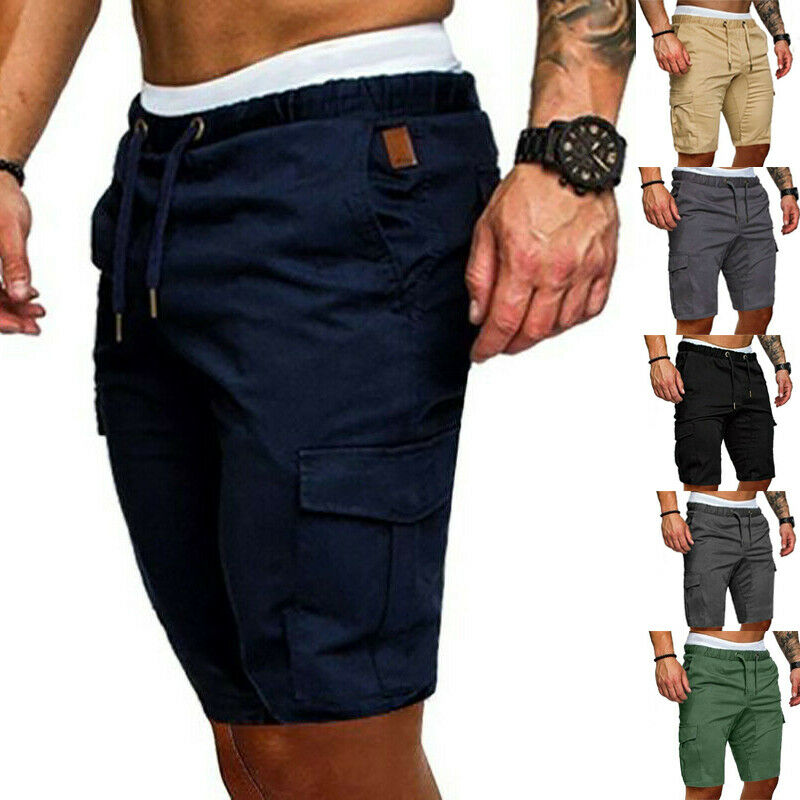 Mens Cargo Shorts Pants Casual Summer Beach Sport Gym Trousers Plain Running Workout Elastic Shorts