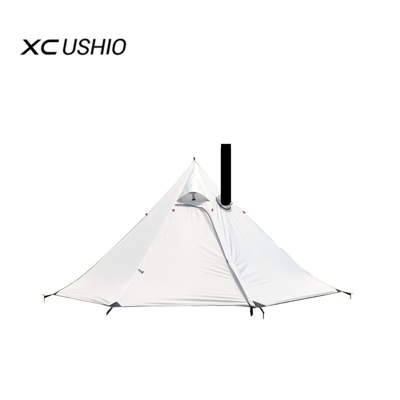 3-4 Person Ultralight Outdoor Camping Teepee Big Pyramid Tent Portable Large Backpacking Hiking Tent With Rod Awnings Shelter