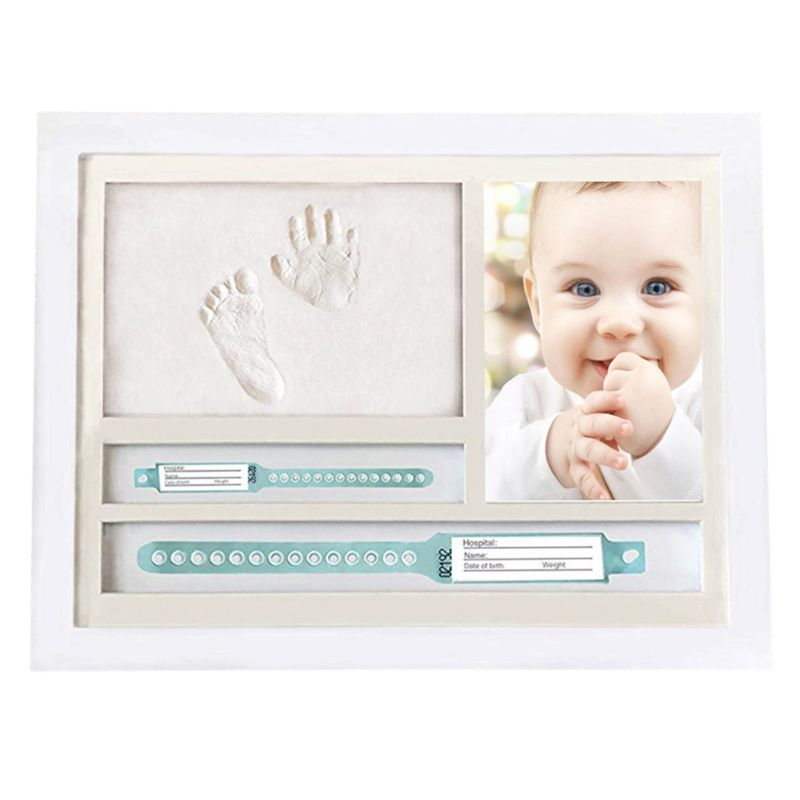 Newborn Hand And Foot Prints Print Mud Photo Frame One Year Old Baby Infants Gifts Commemorative Table Decoration Frames