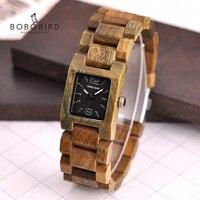 BOBOBIRD zegarki damskie drewno wzór kwadrat eleganckie stylowe damskie zegarki świetne prezenty dla dziewczyn reloj mujer Dropship C eS02 w Zegarki kwarcowe od Zegarki na