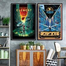 El Fifth elemento clásico de ciencia ficción pintura sobre lienzo de películas cuadros de pared para Living Room Vintage Poster decorativo para la decoración del hogar Quadro