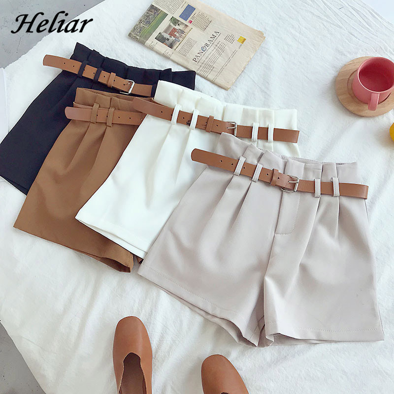 HELIAR Office Lady 2020 Spring Women Shorts Solid Lady Hot Shorts With Sashes Shorts Female With Pockets Casual Shorts Women