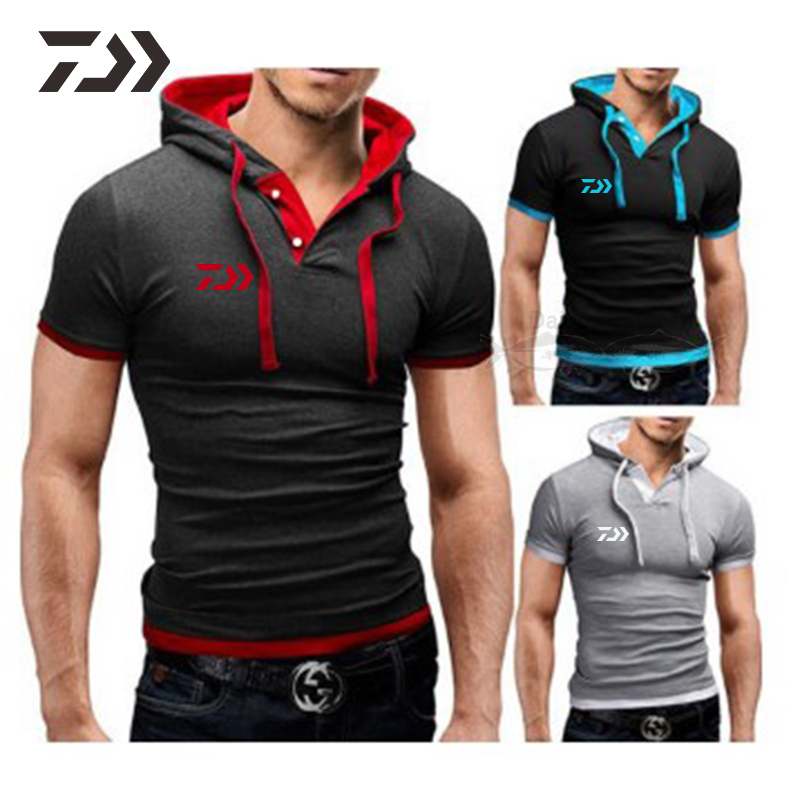 Men T Shirt Daiwa Hoodie Breathable Fishing Shirts Cotton Patchwork Outdoor Short Sleeve Fishing Clothes Men Sport Shirt Summer