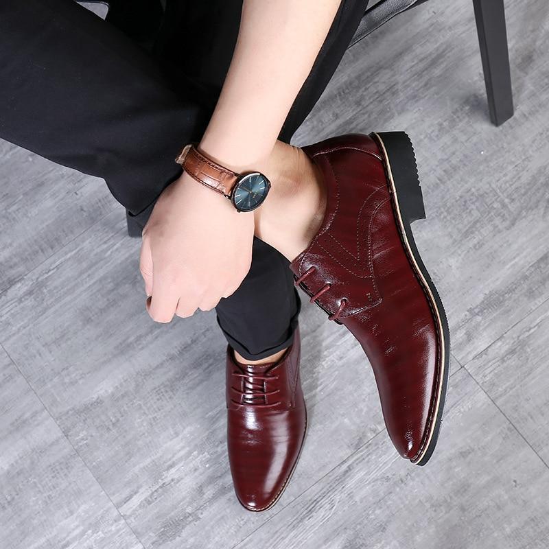 Image 3 - Reetene 革イタリアポインテッドトゥメンズドレスシューズレースアップウェディングパーティー靴男性クラシックレザーメンズスーツ男性オックスフォード正式な靴   -