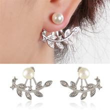Luokey Shiny Pearl Stud Earrings Korean Fashion Vintage Jewelry Alloy Crystal For Women Boucle Doreille Femme Wholesale