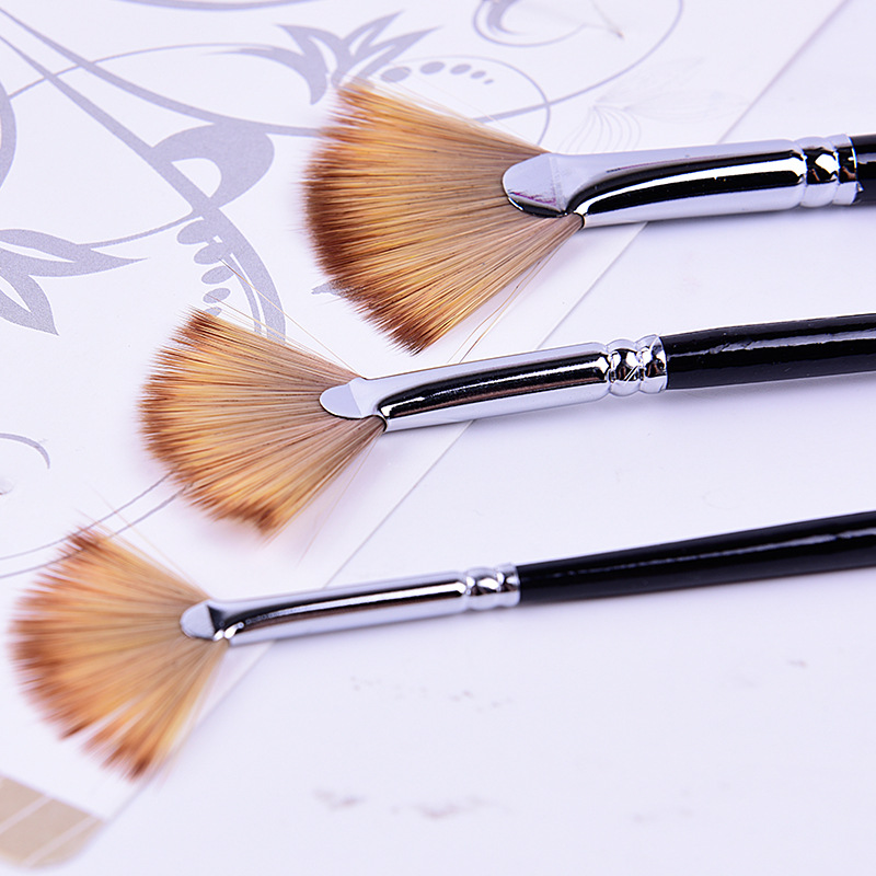 3pcs/set #2,#6,#10 Painting Brush Fan-shaped Copper Tube Mixed Color Nylon Hair Brush Set Eco-friendly Art Supplies