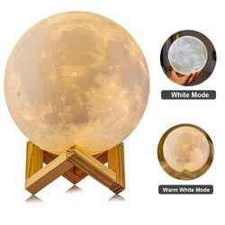 3D лампа с принтом Луна спальня книжный шкаф Ночник светильник креативные подарки перезаряжаемая луна лампа 2 16 цветов Изменение 3D светильни...