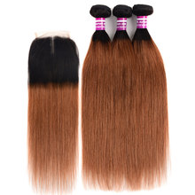 Colored Roots T1b 30 Ombre Straight Hair Bundles With Closure Remy Human Extension 3/4 Peruvian