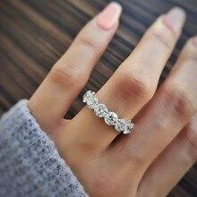 4Mm Ronde Zircona 925 Sterling Silver Wedding Band Ring Eternity Voor Vrouwen Bruid Engagement Kerst Luxe Gift Sieraden R4620S