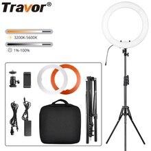 Travor photo studio anel de luz 14 polegada 18 polegada led ringlight câmera telefone fotografia iluminação regulável lâmpada anel com tripé