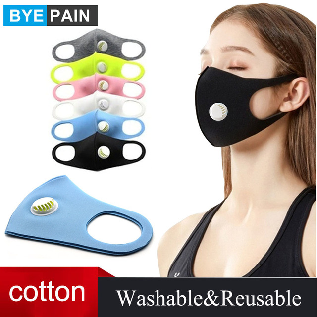 1Pcs Kpop Cotton Black Mouth Face Mask Dust Mask with Breath Value Korean Style Mask Washable And Reusable for Man Woman