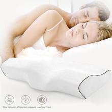 25Urijk Memory Foam Pillows Butterfly Shaped Pillows Neck Orthopedic Pillow Massage for Sleeping Neck Pain Relief Cervical tanie tanio Dekoracyjne BODY Podróży Pościel 100tc Floral Stałe 100 włókno poliestrowe 100 poliester MAGNETIC Pamięci Antystatyczna