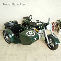 Direct sales new classic retro three wheeled motorcycle model toy hobby collection home bar decoration antique shooting props