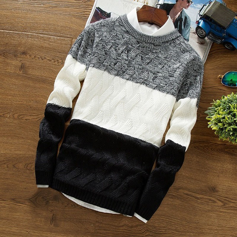 Mens Casual Pullover Tops Long Sleeve Round Neck Knitwear Thick Warm Winter Autumn Sweater Plus Size Work