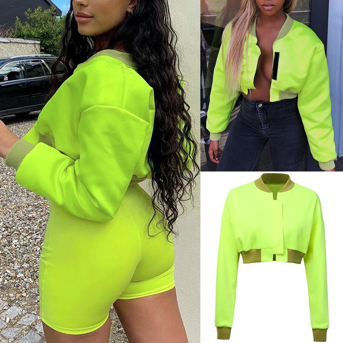 Hbfe0988f4d3043f8a4d04af5361eb555k Neon Green Cropped Jacket Women Streetwear Outwear Windbreaker Bomber Baseball Coats and Jackets Autumn 2019