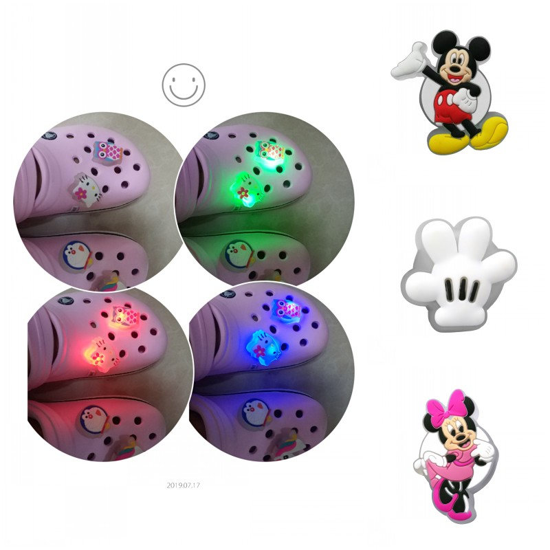 New Arrival 1PCS Mickey LED Shoe Charms PVC Shoe Buckles Light Shoes Accessories Ornaments Fit For Croc JIBZ As Party Xmas Gifts