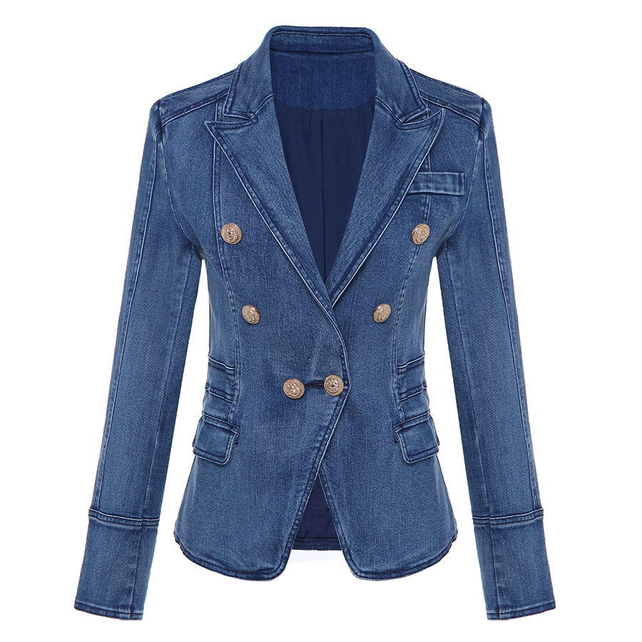 Autumn Winter Women Denim Blazer Temperament OL Double-breasted Button Slim Jeans Small Suit Jackets Lady Plus Size