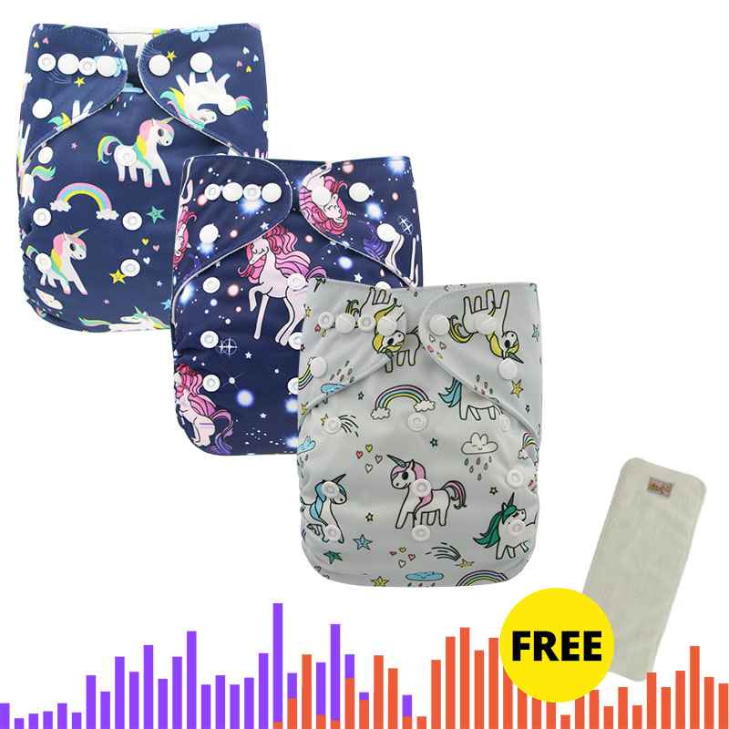 Ohbabyka Diaper New Baby Cloth Diapers Pocket Adjustable Boy Girl Newborn Washable Waterproof Reusable Nappies With FREE Insert