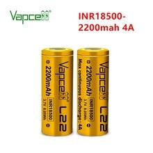 2 pçs/lote Vapcell Originais 18500 2200 mah 4A 3. 7v ferramentas eléctricas de lítio recarregável bateria de íon li para lanterna Frete grátis