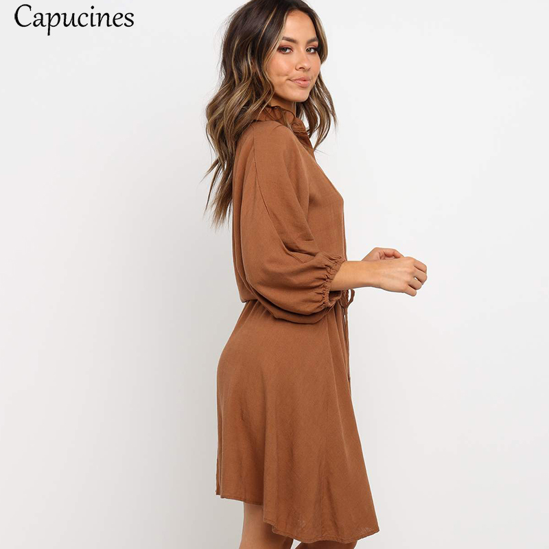 Women's Wrist Sleeves Casual Loose Cotton Dress Autumn Lantern Sleeve Short Dress Sashes Button Elegant Brown Mini Dresses 2