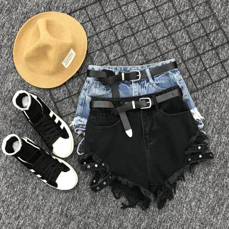 Fashion Black Denim Women High Waist Shorts 2020 Summer Loose Fit Wide Leg Shorts Jeans Punk Style Tassel Sexy Hot Pants S-XL