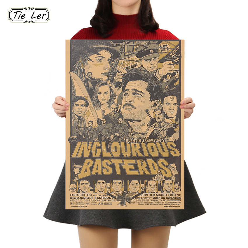 TIE LER Inglourious Basterds Classic Movie Poster Wall Bar House Art Decor Mix Items Posters Retro Wall Sticker