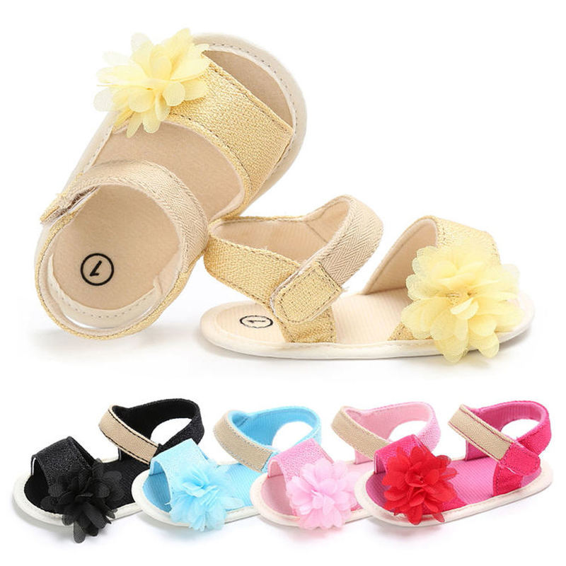 Baby Shoes Girl Summer Sandals Soft Anti-Slip Sole Lace Flower Crib Newborn First Walker Infant Sandals 5-colors