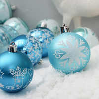 24pcs blue Painted christmas balls Christmas tree hanging ball decor 2019 6cm Barrels Ball Ornaments for Xmas Party Festive Gift
