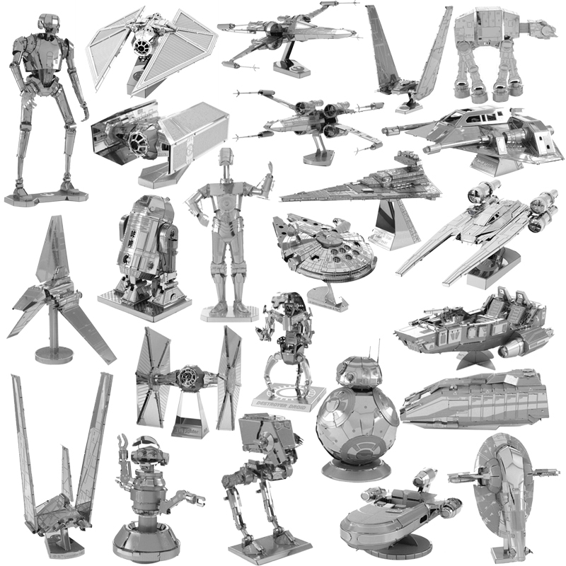 Star Wars 3D DIY Metal Jigsaw Puzzle Toys  R2D2 Series Battleship Model Assemble Collection Stereoscopic Toys Gift Kids Adult