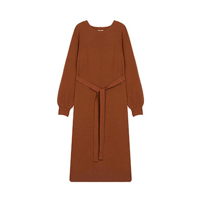 2019 秋の新ファッションエレガントなセーター女性のヘッドにロングセクション長袖怠惰な風カジュアル底ニットドレス
