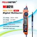 Цифровой мультиметр 2000 отсчетов с бесконтактным PEAKMETER MS8211 AC детектор напряжения Тестовый зажим DC/AC 600V DC/AC 200mA