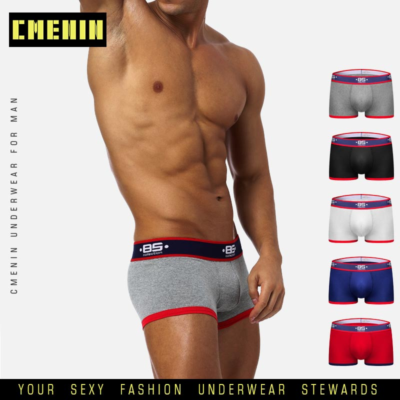 Sexy Männer Unterwäsche Boxer Shorts Männer Baumwolle Unterhose Slip Dessous U Pouch Komfortable Cueca Männlichen Höschen Solide Boxer BS138