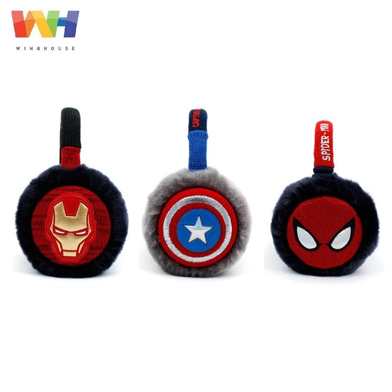 Korean Winghouse Children Earmuffs Captain Amercia Spider Man Iron Man Plush EarBag Boy Windproof Earplugs Winter Headphones