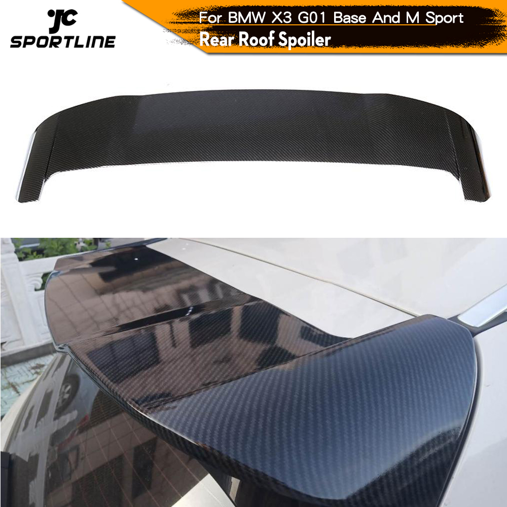 For BMW X3 G01 Not for X3M 2018 2019 ABS Carbon Look / Glossy Black Painted Rear Roof Spoiler Boot Lip Wing Lip