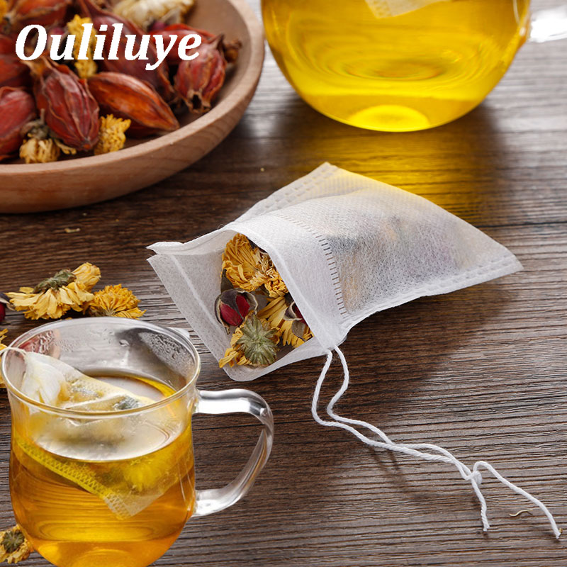 100 Pcs/Lot Disposable Tea Bags For Puer Green Tea Bag Infuser With String Heal Seal 7 X 9cm Sachet Teabag Empty Tea Bags
