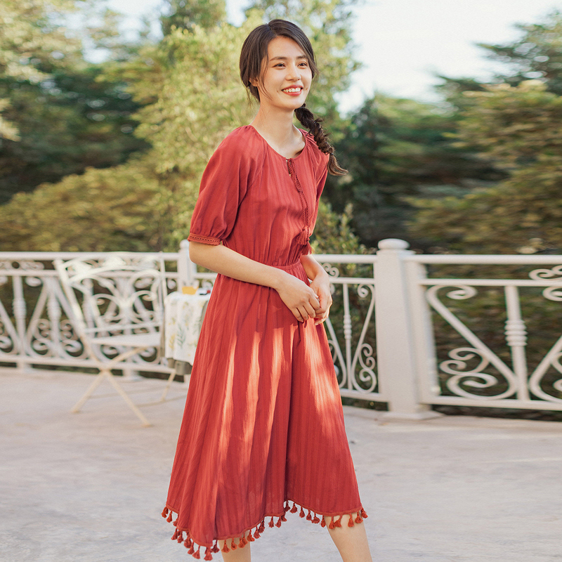INMAN 2020 Summer New Arrival Literary Lace-up Round Collar Nipped Waist Tassels Hemline Pure Color Dress