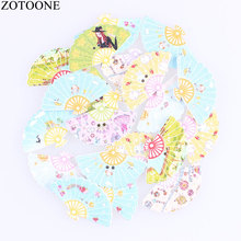 ZOTOONE Cute Folding Fan Wooden Buttons 50PCS Noel Accessories Scrapbooking for Coat DIY Craft Decoration Colorful Button E
