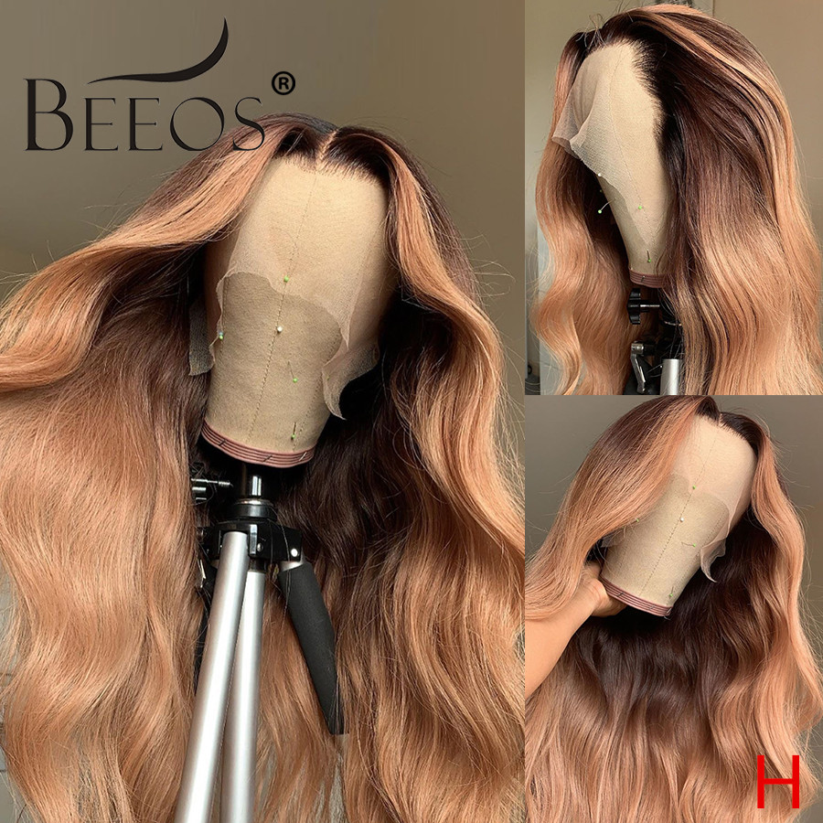 Beeos 150% 360 Lace Front Human Hair Wig Wavy Ombre Blonde Color Transparent Lace Pre Plucked Bleached Knots Brazilian Remy Hair