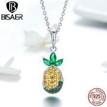 BISAER 925 Sterling Silver AAA Yellow CZ Pineapple Fruit Pendant Necklace for Women Fashion Jewelry Female Gifts GXC1076 bisaer authentic 925 sterling silver gold color mosaic red cz heart pendant necklace for women valentine s gifts jewelry gan014