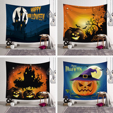 New Skull Pumpkin Pumpkins Tree Witch Wall Hanging Tapestry Pumpkin Halloween Tapestry Halloween Party Home Living Room Decor halloween witch printed waterproof wall hanging tapestry