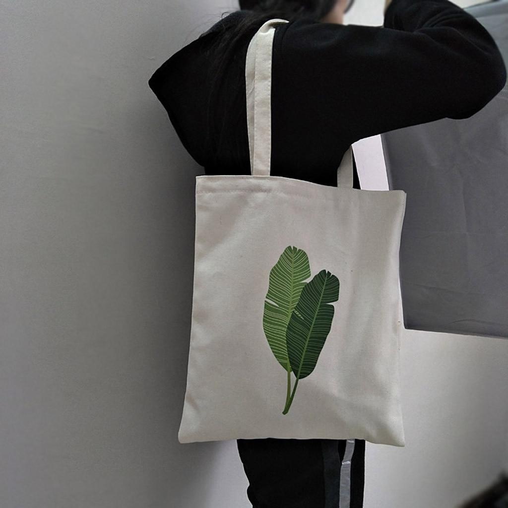 Folding Shopping Bag Fashion Women Canvas Tote Bag Printing Banana Leaf Shopper Handle Eco Shopping Bags Bolsa De Compras #F