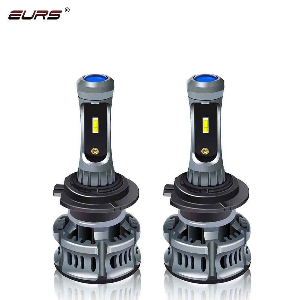 EURS H7 H4 светодиодный фар автомобиля H1 H3 H8 H11 светодиодный 9005 HB4 9006 HB5 XT7 Автомобильные фары лампы дьявольские глаза 6500 к 8000 фара двигателя 7200lm