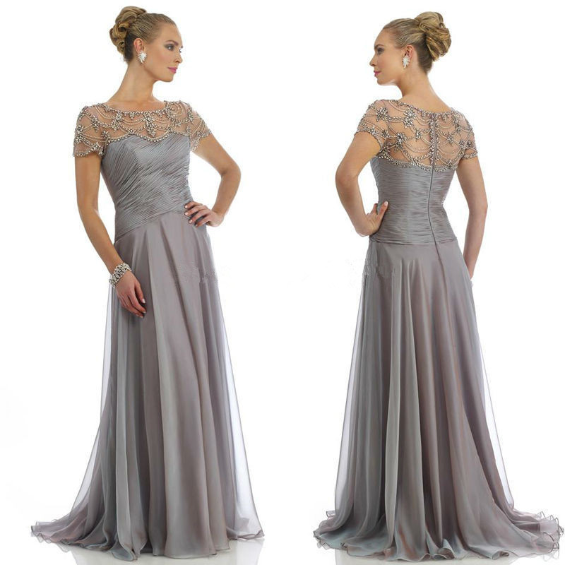 Elegant Grey Cap Sleeve Floor Length Beaded Long Chiffon Long Formal Evening Bridal Party Gown Mother Of The Bride Dresses