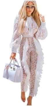 شير الأبيض جمبسوت من الدانتيل للنساء مثير انظر من خلال الأزهار الكشكشة Bodycon السروال القصير عيد الميلاد النادي الليلي وزرة AE247